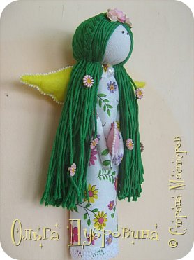 Давно хотела сделать куклу с зелёными волосами. Сделала))) фото 2