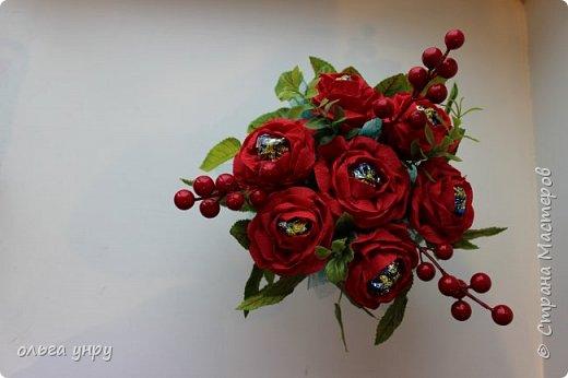 """розы на бокале (внутри конфеты """"Марсианка"""" 13 штук) фото 3"""