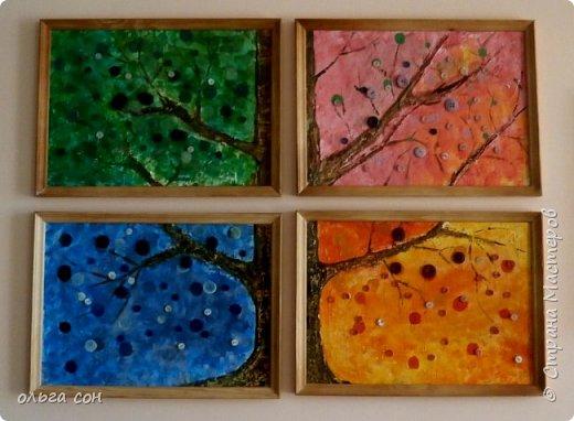 """Декоративное панно """"Пейзаж"""" Ошаровой Анны 9 класс. Работа 30х40. Основа работы ДВП, нанесён слой моделирующей пасты, покрыто красками (акрил), изображения из сухоцветов. фото 3"""