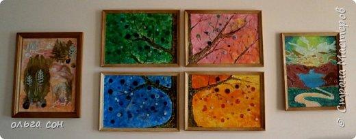 """Декоративное панно """"Пейзаж"""" Ошаровой Анны 9 класс. Работа 30х40. Основа работы ДВП, нанесён слой моделирующей пасты, покрыто красками (акрил), изображения из сухоцветов. фото 4"""