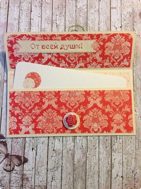 """В последнее время полюбила Fleur Базовую шебби-шик:), но тут кусочки еще из коллекции """"наша свадьба"""", лист """"в саду"""" Вот пара конвертов из неё, красный и сиреневый. фото 3"""