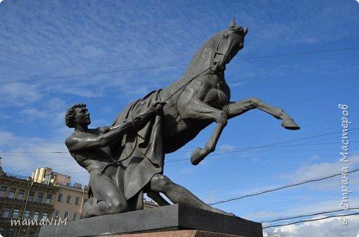 В школе учительница детям дала задание, походить по городу и пофотографировать коней. Нам это очень понравилось, с удовольствием погуляли и посмотрели. Вон их оказывается сколько!  Эти лошадки расположены на здании Александрийского театра. фото 11