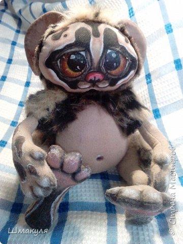 Вот такой глазастик был сделан по мк Людмилы Набиуллиной. Ручки ,ножки и хвостик на проволочном каркасе, могут принимать любое положение. Хвостик слудит опорой. фото 3