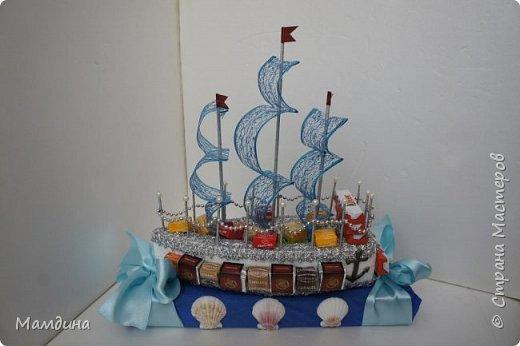 Доброго времени суток! В подарок одному мальчику был сделан такой кораблик, основа пенопласт. Хотела изобразить море, коробку конфет обернула синей бумагой и приклеила ракушки. Пересмотрела кучу мастер-классов, казалось все такое сложное, а мне надо быстро и просто, вот и сделала по-своему. фото 1