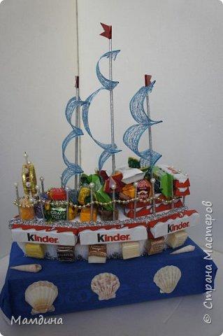 Доброго времени суток! В подарок одному мальчику был сделан такой кораблик, основа пенопласт. Хотела изобразить море, коробку конфет обернула синей бумагой и приклеила ракушки. Пересмотрела кучу мастер-классов, казалось все такое сложное, а мне надо быстро и просто, вот и сделала по-своему. фото 5