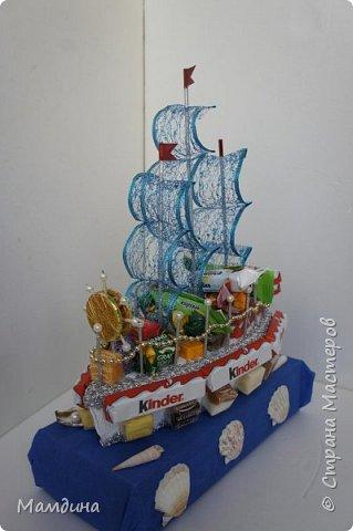 Доброго времени суток! В подарок одному мальчику был сделан такой кораблик, основа пенопласт. Хотела изобразить море, коробку конфет обернула синей бумагой и приклеила ракушки. Пересмотрела кучу мастер-классов, казалось все такое сложное, а мне надо быстро и просто, вот и сделала по-своему. фото 8