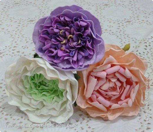 Цветы из фоамирана: ранункулюс, пионовидная роза, пионы фото 1