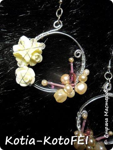 Серьги с розами в технике Wire wrap фото 3