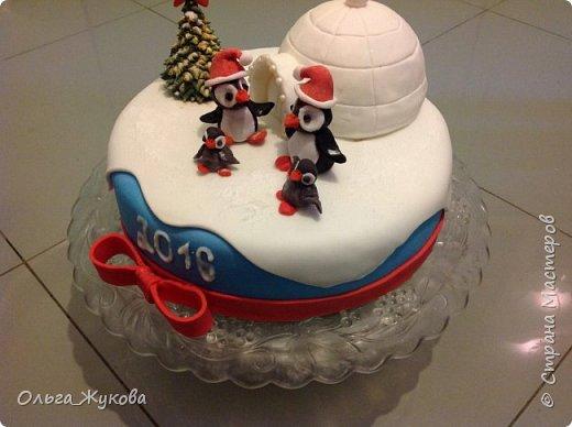 """Доброго времени суток всем! Хочу показать тортики, можно сказать, детские, которые пекла своей семье!  Первый торт- """"Пингвины на льдине"""" на Новый год. Почему то большее впечатление на моих произвёл ледяной домик и не сами пингвины, в их шапки!! фото 1"""