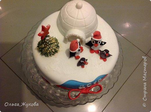 """Доброго времени суток всем! Хочу показать тортики, можно сказать, детские, которые пекла своей семье!  Первый торт- """"Пингвины на льдине"""" на Новый год. Почему то большее впечатление на моих произвёл ледяной домик и не сами пингвины, в их шапки!! фото 3"""