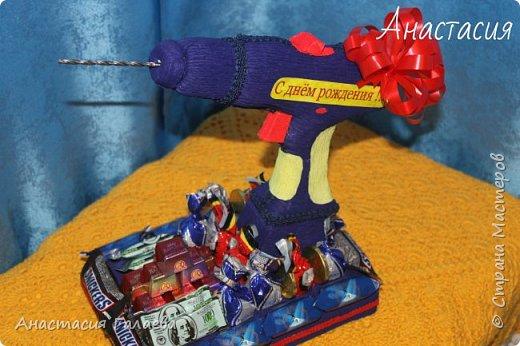 Вот такая Дрель с конфетами получилась из фантазии))) Единственная работа в одном экземпляре и похожих даже нигде нет))) фото 1