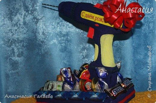 Вот такая Дрель с конфетами получилась из фантазии))) Единственная работа в одном экземпляре и похожих даже нигде нет))) фото 4