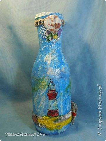 "..... не утерпела "" наваяла"" ещё и такую морскую вазочку - бутылочку....... фото 1"