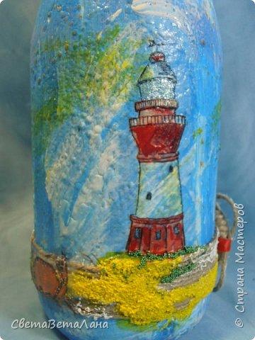 "..... не утерпела "" наваяла"" ещё и такую морскую вазочку - бутылочку....... фото 11"