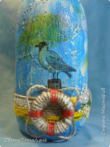 "..... не утерпела "" наваяла"" ещё и такую морскую вазочку - бутылочку....... фото 14"