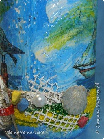 "..... не утерпела "" наваяла"" ещё и такую морскую вазочку - бутылочку....... фото 15"