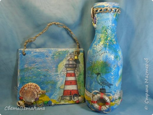 "..... не утерпела "" наваяла"" ещё и такую морскую вазочку - бутылочку....... фото 2"