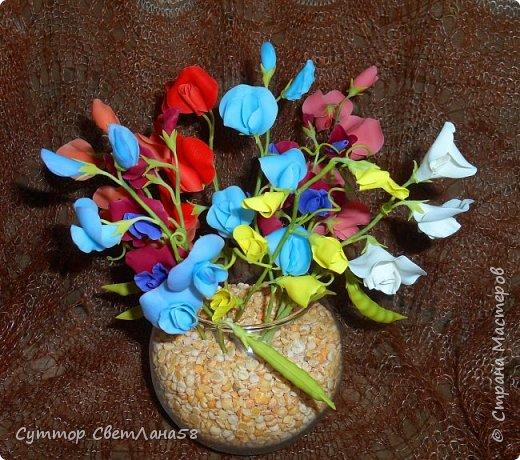Цветок душистого горошка из холодного фарфора без вырубок (катеров), поэтапный мастер- класс  фото 1