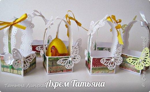Всем привет! Я уже начала готовиться к Пасхе. Делюсь с вами способом оформления корзиночек для пасхальных яиц. Такие корзиночки могут украсить праздничный стол. Также в таких корзиночках яйца  можно дарить, ведь на Пасху есть обычай обмениваться яйцами, будем делать это красиво! :) фото 4