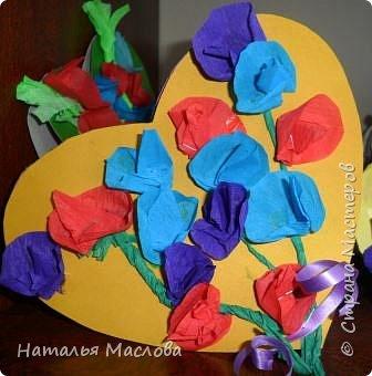 Работы четвероклассников. Открытки-сердечки к 8 марта. Цветы выполнены по идеи Татьяны Просняковой. В её блоге подробный мастер класс. фото 1
