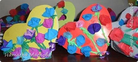 Работы четвероклассников. Открытки-сердечки к 8 марта. Цветы выполнены по идеи Татьяны Просняковой. В её блоге подробный мастер класс. фото 2