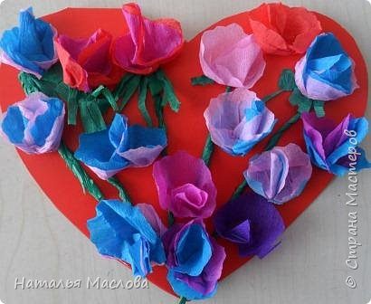 Работы четвероклассников. Открытки-сердечки к 8 марта. Цветы выполнены по идеи Татьяны Просняковой. В её блоге подробный мастер класс. фото 3