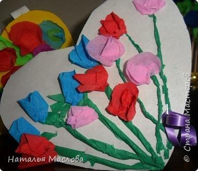 Работы четвероклассников. Открытки-сердечки к 8 марта. Цветы выполнены по идеи Татьяны Просняковой. В её блоге подробный мастер класс. фото 5