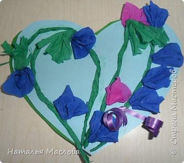 Работы четвероклассников. Открытки-сердечки к 8 марта. Цветы выполнены по идеи Татьяны Просняковой. В её блоге подробный мастер класс. фото 6