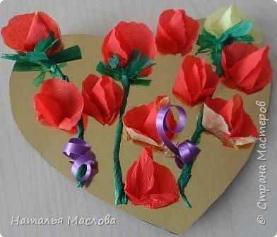 Работы четвероклассников. Открытки-сердечки к 8 марта. Цветы выполнены по идеи Татьяны Просняковой. В её блоге подробный мастер класс. фото 7