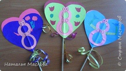 Работы четвероклассников. Открытки-сердечки к 8 марта. Цветы выполнены по идеи Татьяны Просняковой. В её блоге подробный мастер класс. фото 18