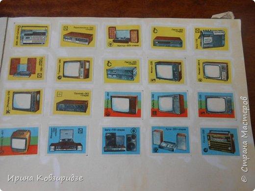 В своё время, ещё при СССР мне попадались в киосках Союзпечати коллекционные наборы спичечных этикеток. Стоили они копейки, и у меня собралась коллекция, которую я наклеила в альбом. Это 1-ая страница : Пооигрыватели, радиоприёмники, телевизоры, магнитофоны фото 1