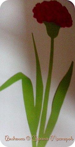 """Всем доброго времени суток! Сегодня я решила опять сделать аппликацию, на этот раз гвоздику. (Напоминаю кнгиа называется """"открытки и сувениры к праздникам"""" автора В. И. Новиковой) фото 11"""
