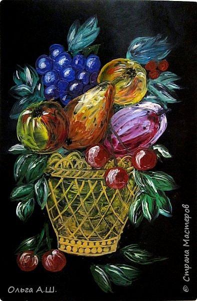 "Натюрморт ""Корзинка с фруктами"". Формат А4. на черном картоне. фото 1"