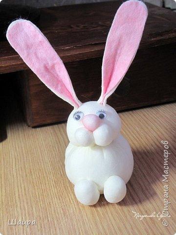 Продолжаем делать игрушки с детьми.  Пасхальный кролик. Маленький - 9 см до ушек, ушки 9 см. фото 12