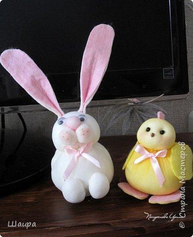 Продолжаем делать игрушки с детьми.  Пасхальный кролик. Маленький - 9 см до ушек, ушки 9 см. фото 13