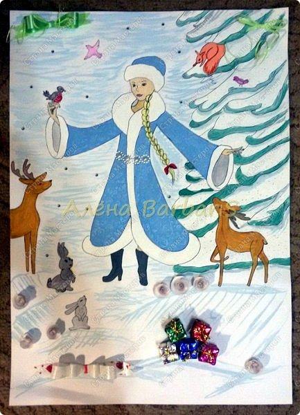 На новый год меня попросили оформить группу и нарисовать два плаката с дедом морозом и снегуркой )  фото 3