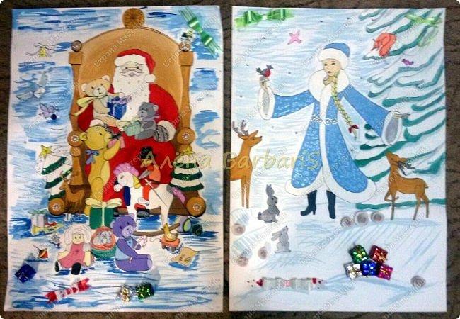 На новый год меня попросили оформить группу и нарисовать два плаката с дедом морозом и снегуркой )  фото 1