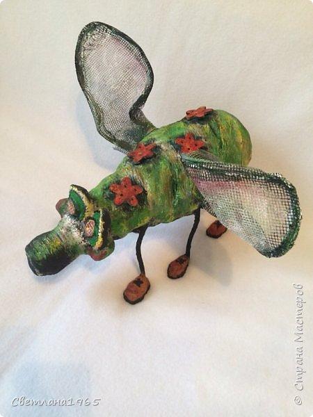 Приветствую всех!!!Увидела муху замечательного мастера  Lianamur ,и захотелось сделать себе  в сад подобное!!!Копировать  совсем не сталада и не смогу  (у неё красавица муха ),сделала своё,получился мухосвин,этакий мутант.Бутылка ,облепленная массой из яичных лотков фото 2