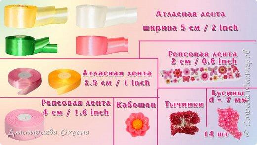 Мастер-класс в технике Канзаши. Сегодня в мастер-классе мы будем делать своими руками украшение для девочек - цветок в технике Канзаши и украшаем им повязку для волос. Цветок Канзаши будет многослойным и в работе используем несколько типов лепестков Канзаши. Для работы нам потребуются атласные ленты шириной 2,5 см, 5 см, репсовые ленты шириной 2 см, 4 см, а также кабошон, бусины и тычинки для украшения цветка. Удачи Вам в творчестве!!!  фото 4