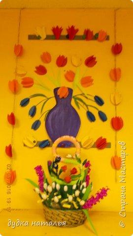 Восьмерку делала из цельного полотна, потом аккуратно загибала в форме восьмерки. Цветы созданы из гофрированной бумаги. фото 5