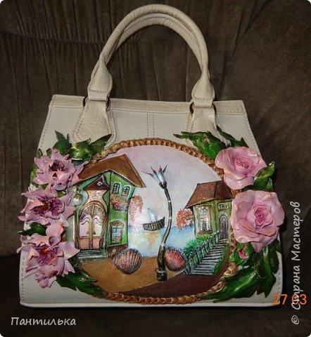 """Летняя сумка с объёмными цветами и пейзажем..."""" БЕЛЕЕТ ПАРУС..."""" фото 1"""