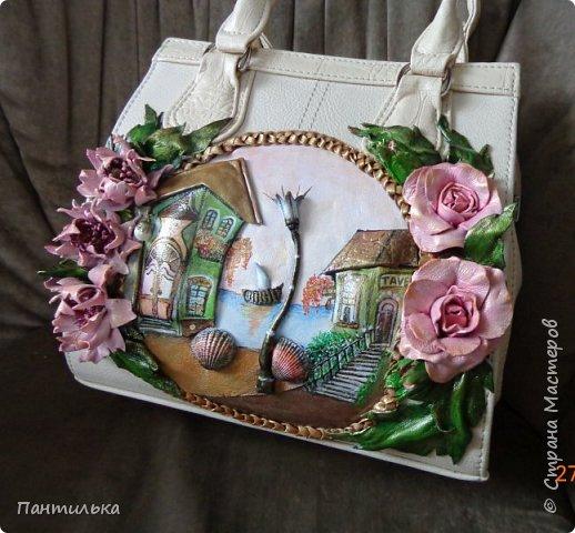 """Летняя сумка с объёмными цветами и пейзажем..."""" БЕЛЕЕТ ПАРУС..."""" фото 2"""