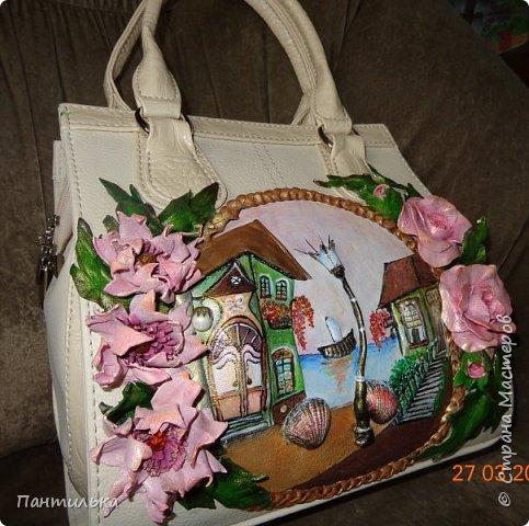 """Летняя сумка с объёмными цветами и пейзажем..."""" БЕЛЕЕТ ПАРУС..."""" фото 3"""
