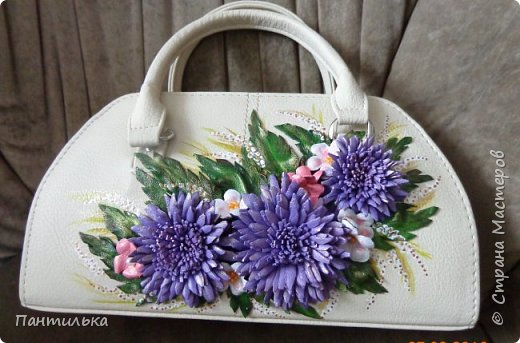 """Летняя сумка с объёмными цветами и пейзажем..."""" БЕЛЕЕТ ПАРУС..."""" фото 4"""