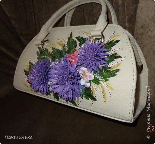 """Летняя сумка с объёмными цветами и пейзажем..."""" БЕЛЕЕТ ПАРУС..."""" фото 5"""