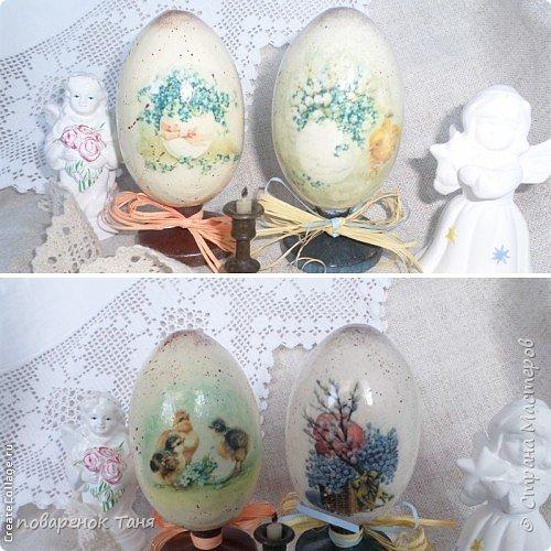 """Здравствуйте. Я опять с яйцами)))) Все просто - грунт, краска, мотив, набрызг, лак матовый или глянцевый. В этот раз использовала вживление распечатки """"мордой-в-лак"""". Конечно, результат намного лучше, чем с рисовой бумагой.  Ну или мне так кажется)))  Бантик из рафии.  Яйца довольно большие, примерно 12-14 см высотой.  фото 2"""