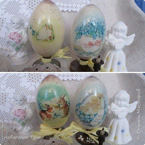 """Здравствуйте. Я опять с яйцами)))) Все просто - грунт, краска, мотив, набрызг, лак матовый или глянцевый. В этот раз использовала вживление распечатки """"мордой-в-лак"""". Конечно, результат намного лучше, чем с рисовой бумагой.  Ну или мне так кажется)))  Бантик из рафии.  Яйца довольно большие, примерно 12-14 см высотой.  фото 6"""
