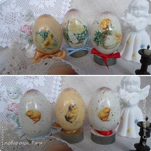 """Здравствуйте. Я опять с яйцами)))) Все просто - грунт, краска, мотив, набрызг, лак матовый или глянцевый. В этот раз использовала вживление распечатки """"мордой-в-лак"""". Конечно, результат намного лучше, чем с рисовой бумагой.  Ну или мне так кажется)))  Бантик из рафии.  Яйца довольно большие, примерно 12-14 см высотой.  фото 7"""