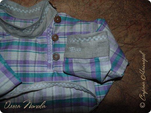 Вот льняную рубашечку в народном стиле сшила, с клинышками под мышкой. фото 5