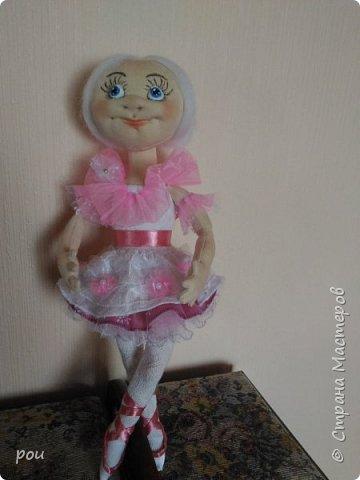 Кукла-балерина. Высота 35 см. Из трикотажа. В ножках проволока фото 1